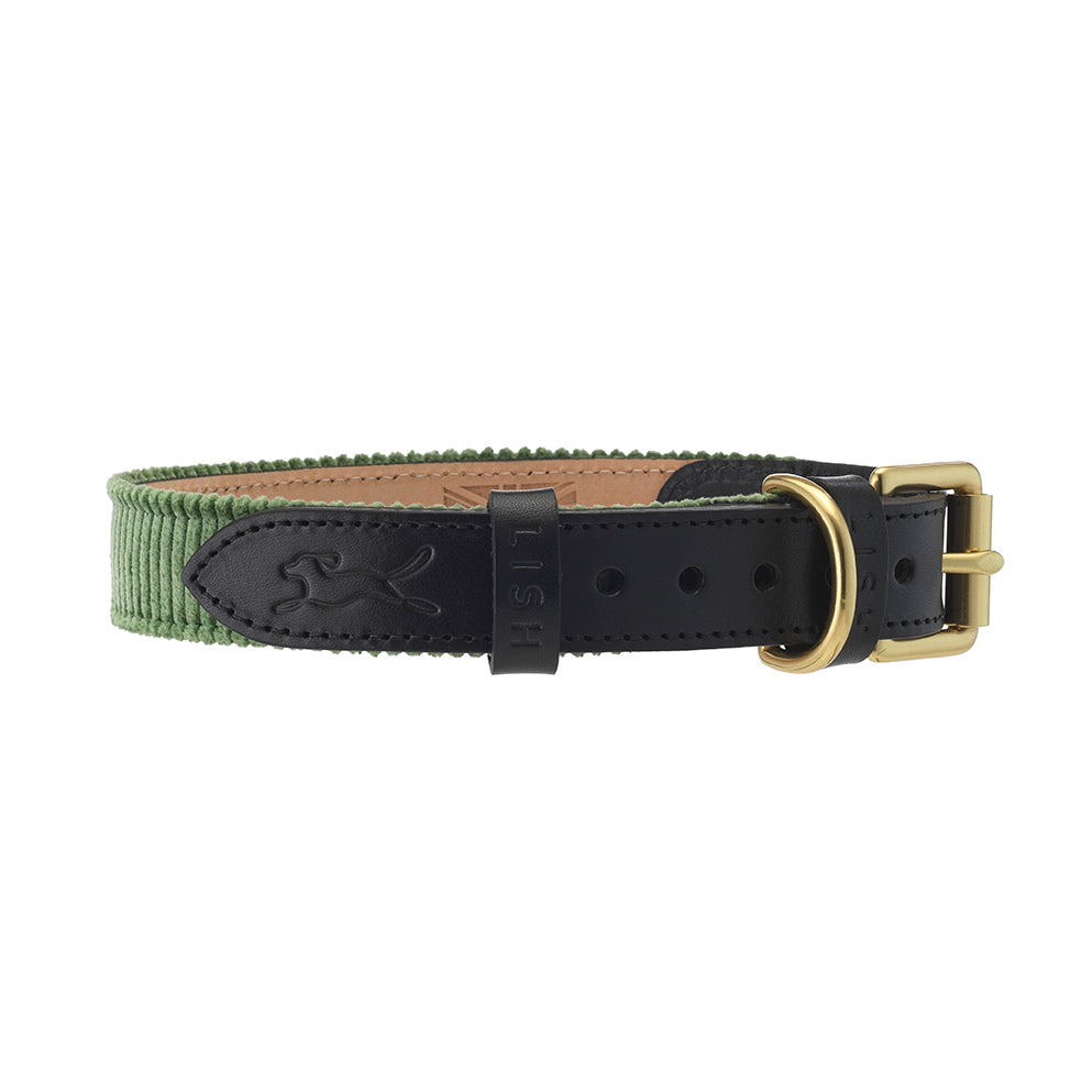 green corduroy dog collar with black italian leather by LISH petwear
