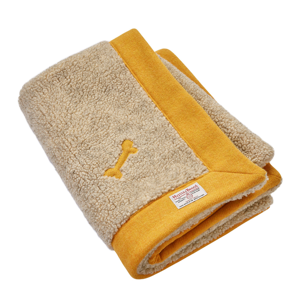 YELLOW HARRIS TWEED LUXURY DOG BLANKET BY LISH LONDON DESIGNER PETWEAR