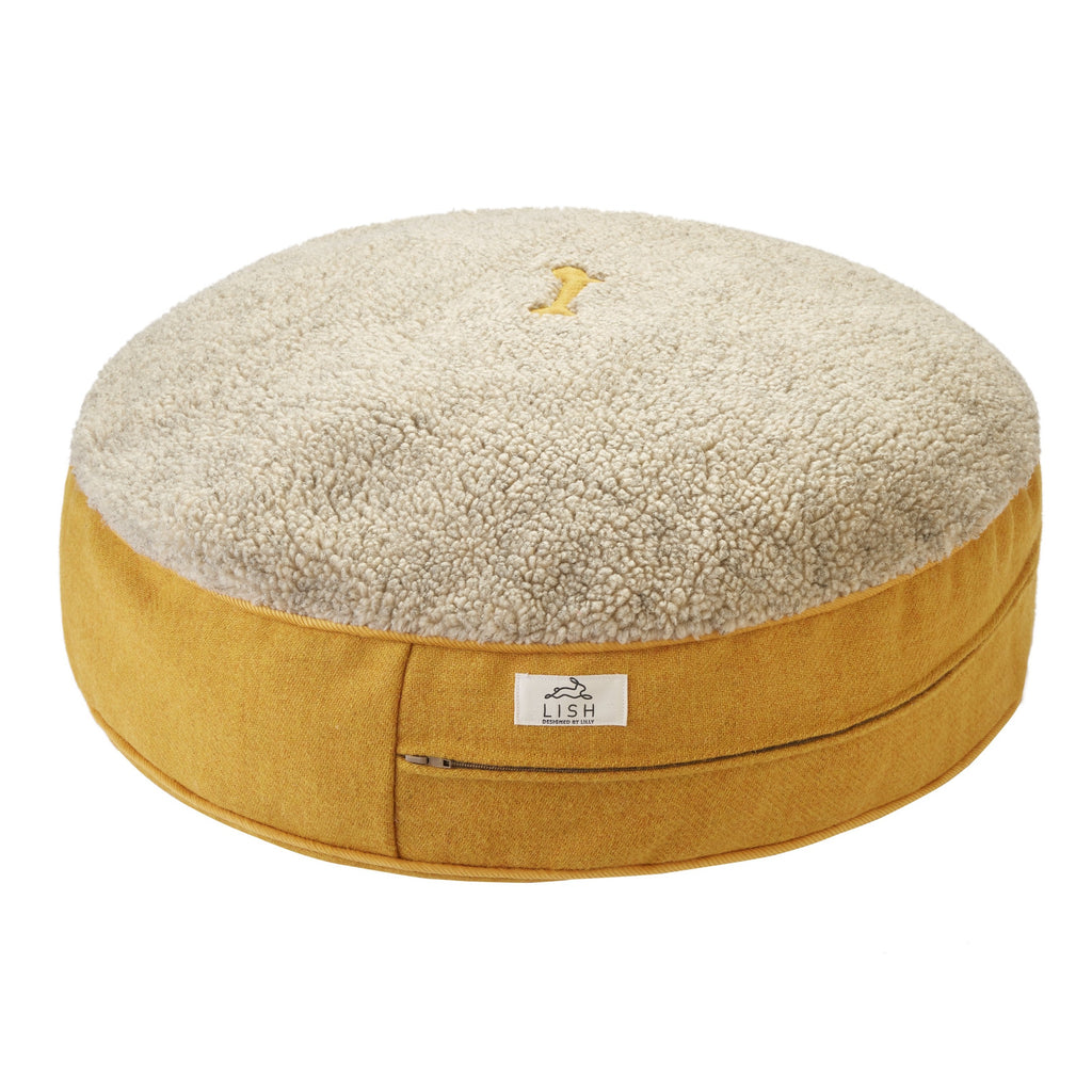 YELLOW HARRIS TWEED LUXURY DOG BED BY LISH LONDON LUXURY PETWEAR
