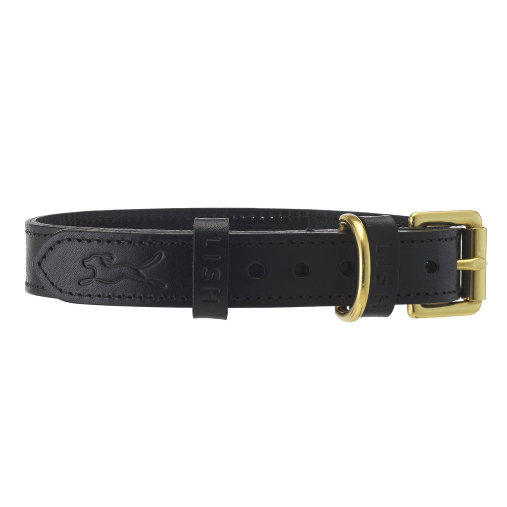 designer black leather dog collar by LISH luxury petwear
