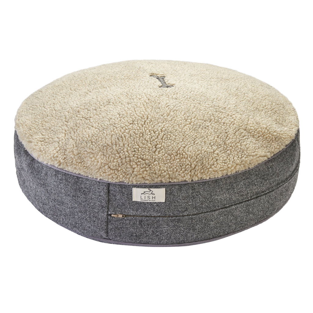 GREY HARRIS TWEED LUXURY DOG BED BY LISH LUXURY PETWEAR