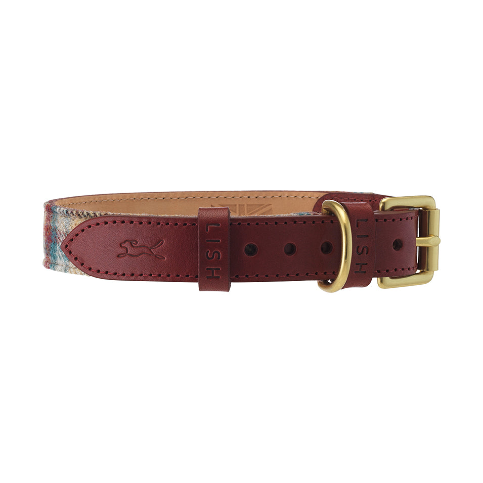 Italian leather red dog collar with tartan tweed by LISH luxury petwear