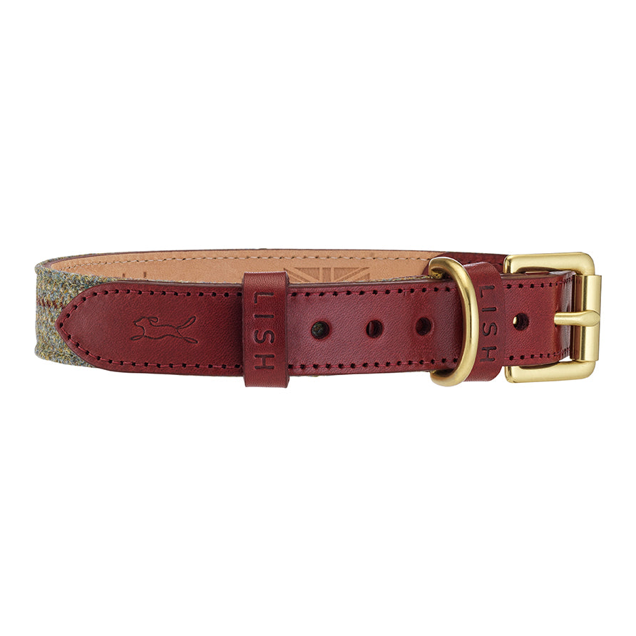 red Italian leather designer dog collar with brass buckle