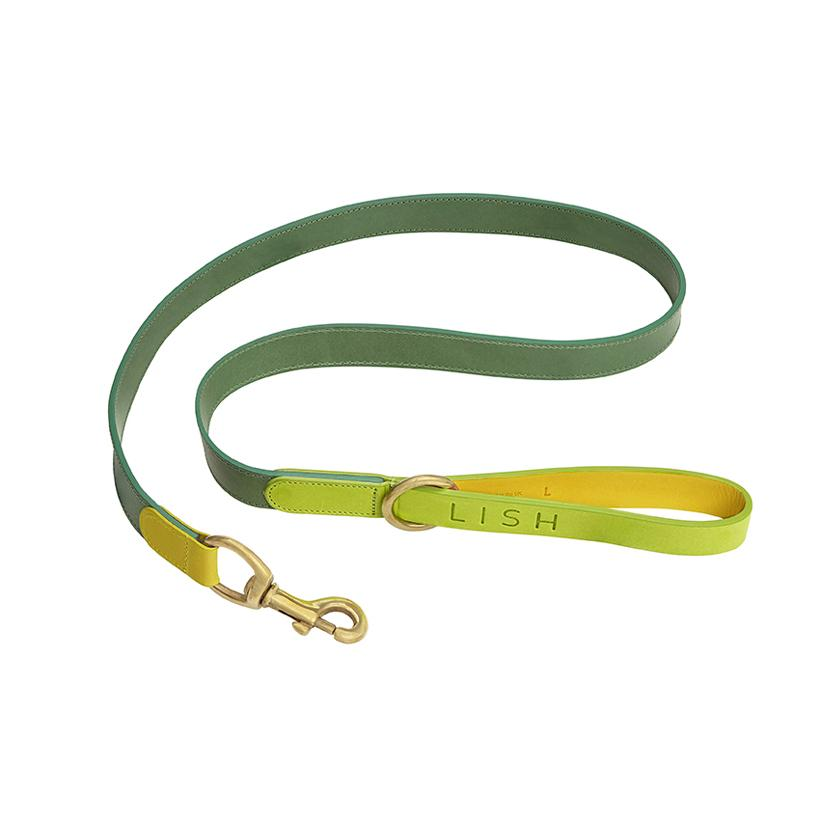 Leonard Lime Leather Dog Lead - LISH Dog Luxury Fashion and Accessories