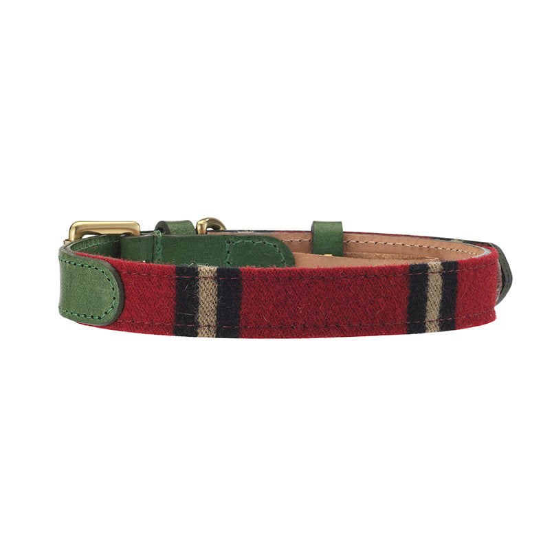 Red stripe luxury dog collar with green Italian leather by LISH designer petwear