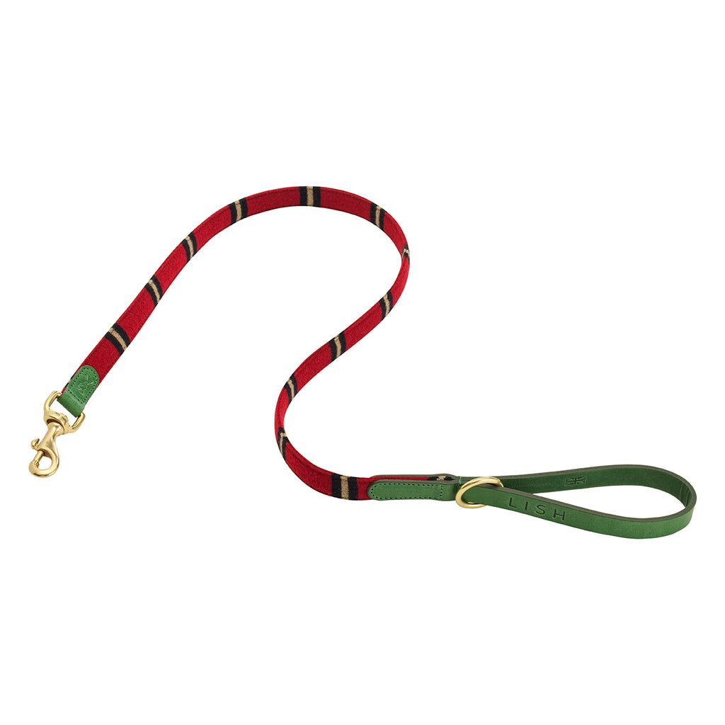 red stripe felted wool designer dog lead with green Italian leather by LISH