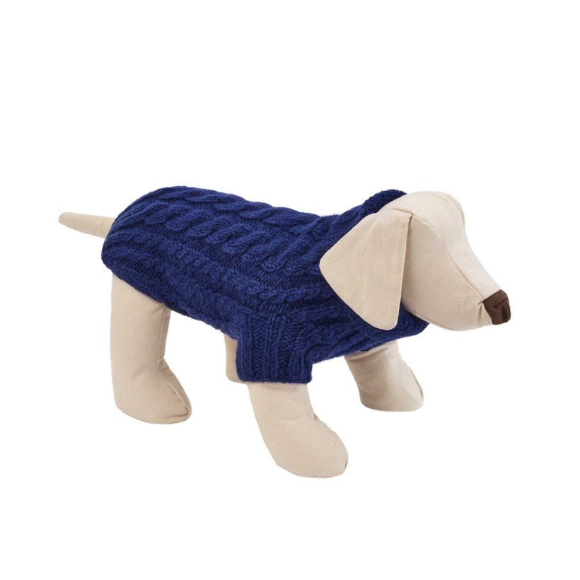 NAVY BLUE CABLE DESIGNER DOG SWEATER BY LISH LUXURY PETWEAR