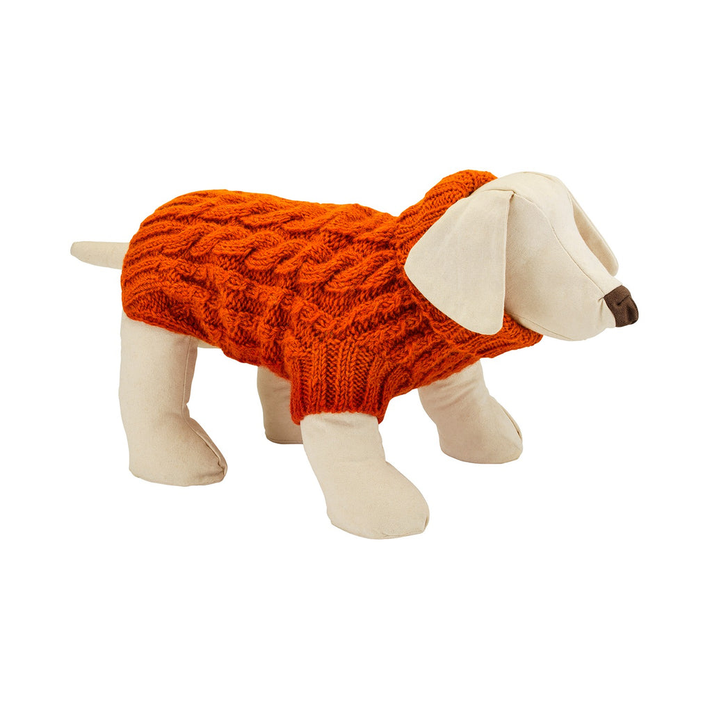Wilmot Orange cable wool designer dog jumper by LISH luxury petwear