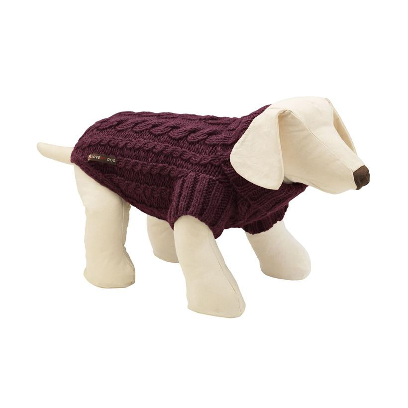 Wilmot Plum Dog Jumper - LISH Dog Luxury Fashion and Accessories