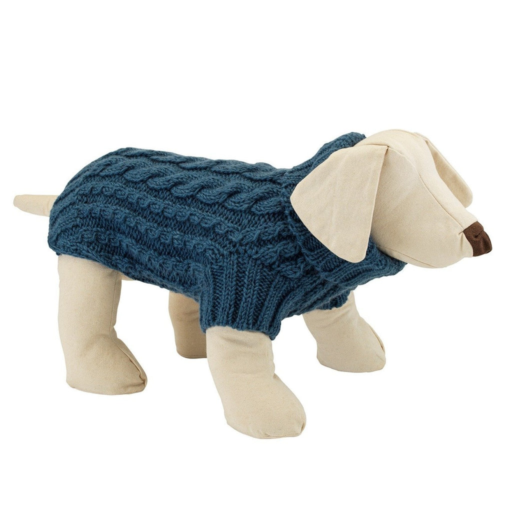 Wilmot teal blue wool designer dog jumper by LISH luxury petwear