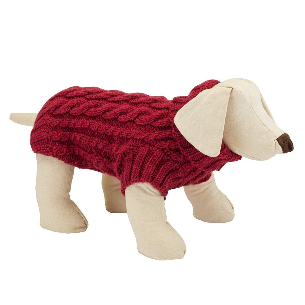 Pink cable wool designer dog jumper by LISH luxury petwear