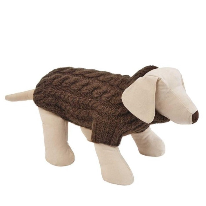 CHESTNUT BROWN DESIGNER CABLE DOG SWEATER BY LISH LUXURY PETWEAR