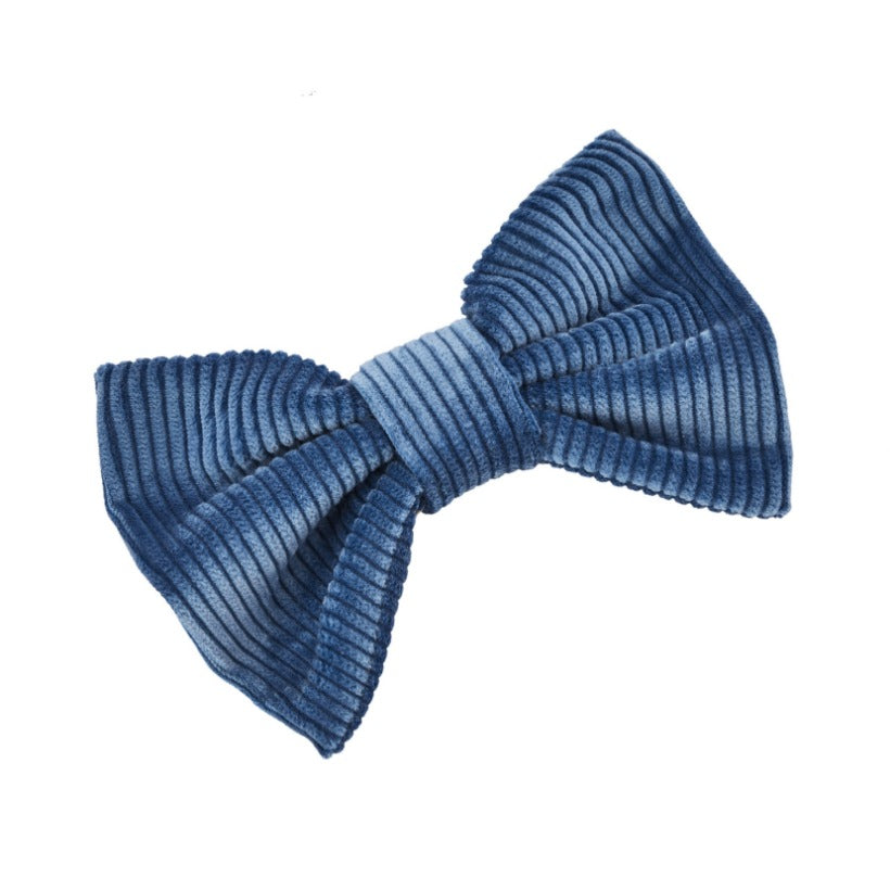 Blue corduroy luxury dog bow tie by LISH London luxury petwear