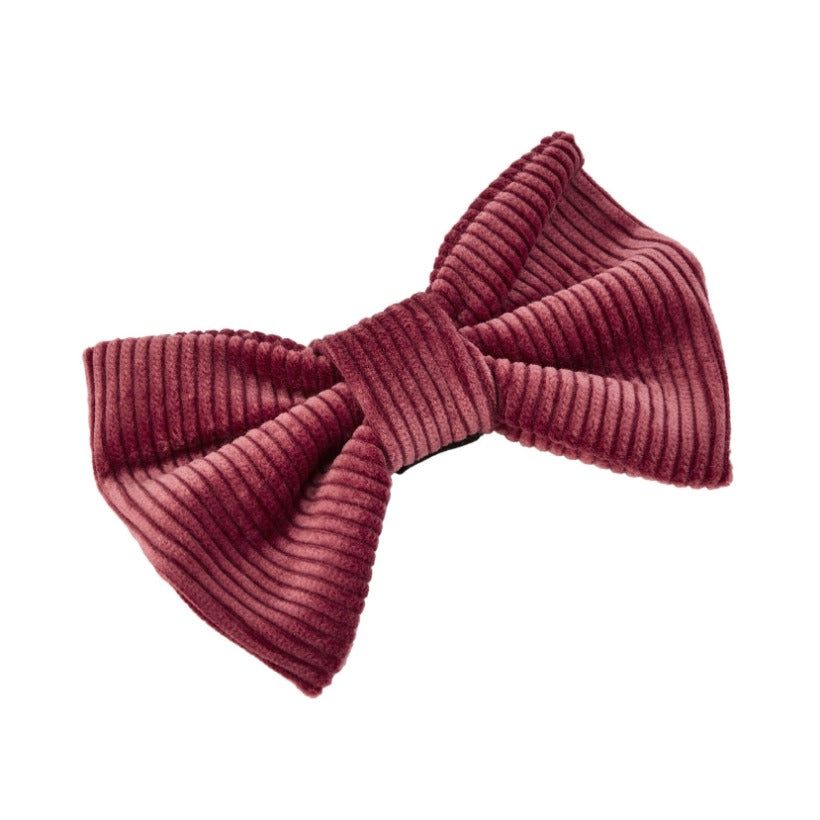 Rose pink cotton corduroy designer dog bow tie by LISH London luxury petwear