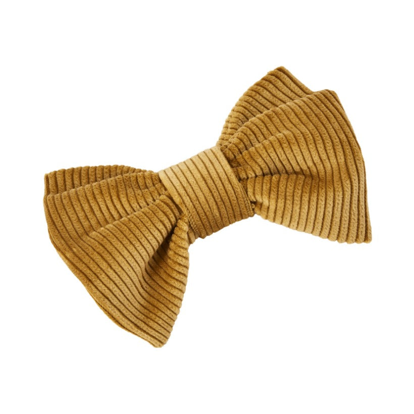 Yellow wide wale cotton corduroy dog bow tie by LISH London luxury petwear