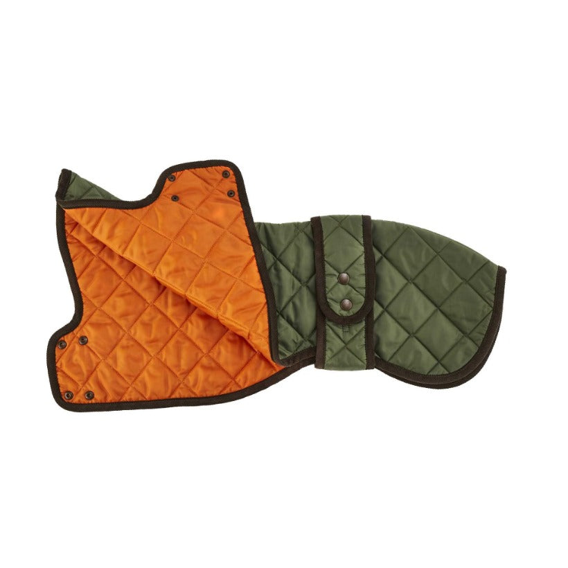 quilted green whippet designer dog coat by LISH London luxury petwear