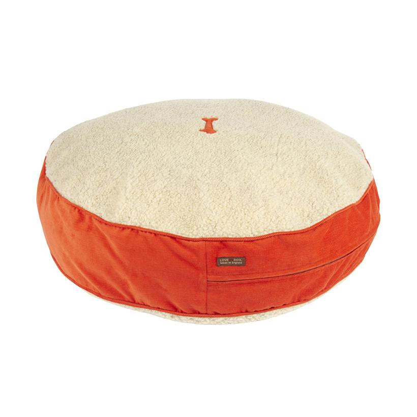 Spencer Corduroy Orange Dog Bed - LISH Dog Luxury Fashion and Accessories