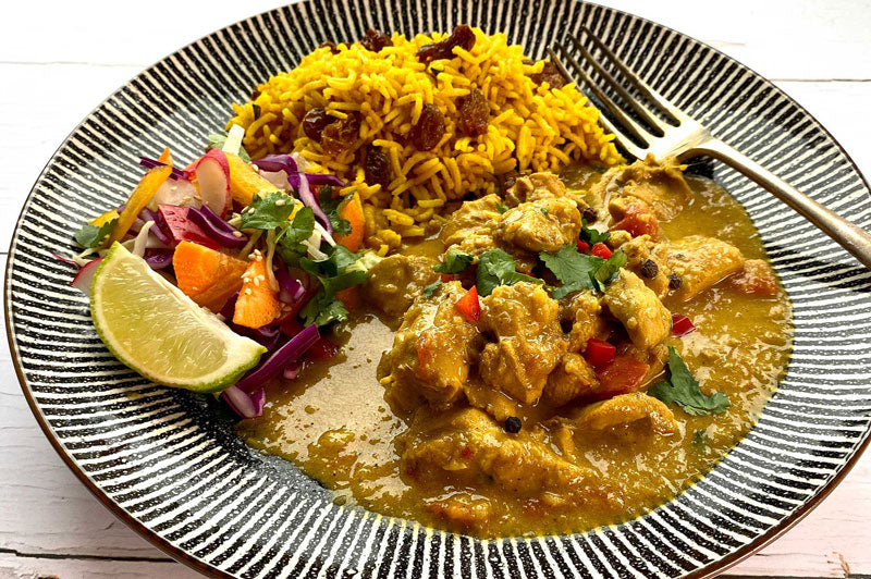 SRI LANAKAN COCONUT & LIME CURRY WITH YELLOW RICE