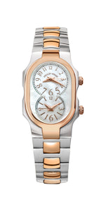 Small Signature Dual Time Zone Two Tone Rose Gold Watch