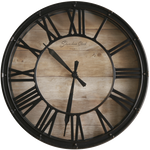 INDUSTRIAL WALL CLOCK METAL AND WOOD
