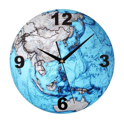 WORLD MAP WALL CLOCK BLUE EARTH