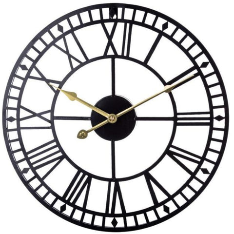 INDUSTRIAL WALL CLOCK BLACK METAL