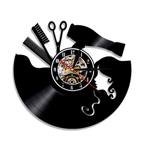 VINYL WALL CLOCK HAIR SALON