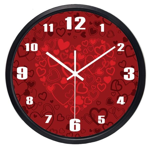 DESIGN WALL CLOCK RED HEARTS
