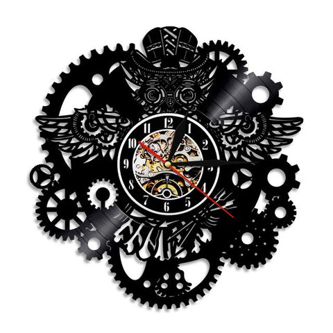 VINYL WALL CLOCK STEAMPUNK OWL