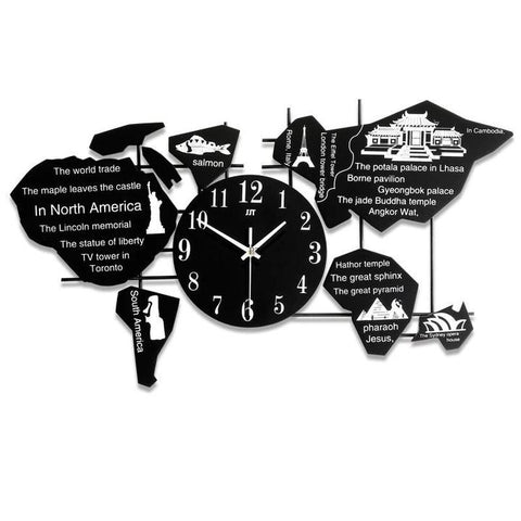 WORLD MAP WALL CLOCK BLACK CLOCK