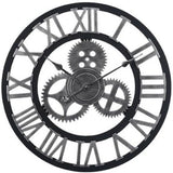 INDUSTRIAL WALL CLOCK SILVER STEAMPUNK