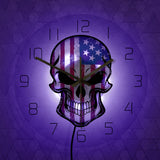 LED Wall Clock <br> American Skull