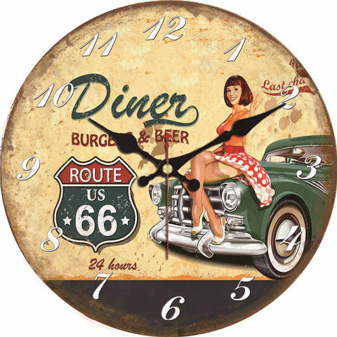 VINTAGE WALL CLOCK AMERICAN PIN-UP