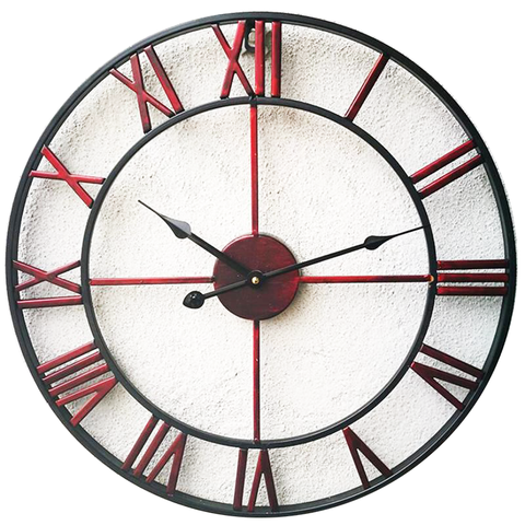 INDUSTRIAL WALL CLOCK RUSTIC RED