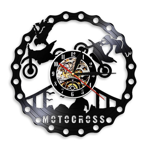 VINYL WALL CLOCK MOTOCROSS