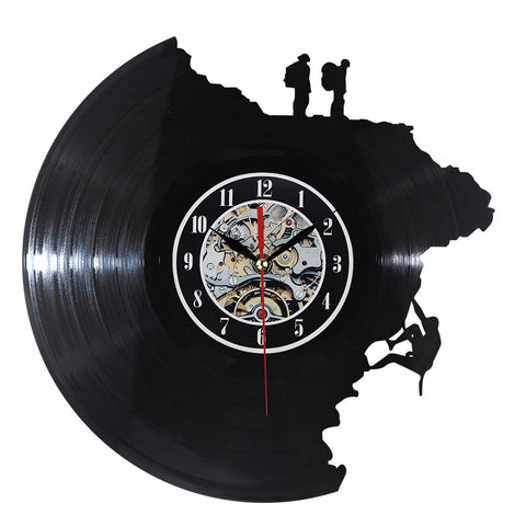 VINYL WALL CLOCK MOUNTAIN CLIMBING