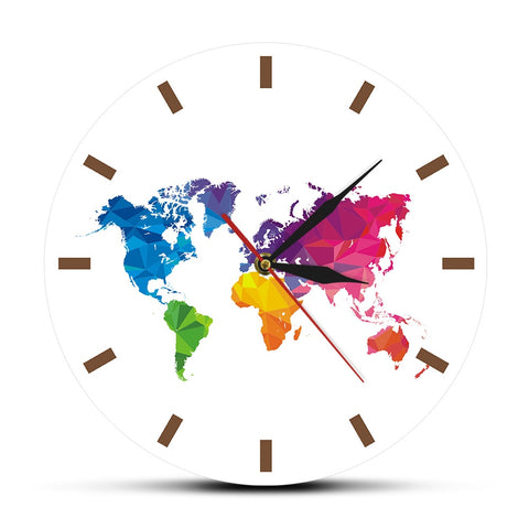 WORLD MAP WALL CLOCK MULTICOLOUR MODERN WORLD