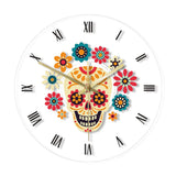 LED WALL CLOCK FLOWERED SKULL