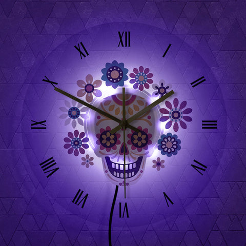 LED Wall Clock <br> Flowered Skull