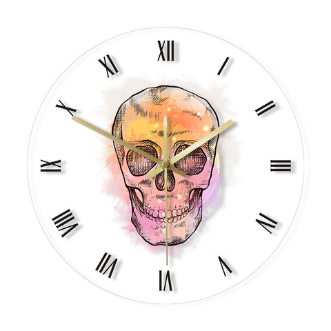 LED WALL CLOCK MULTICOLOURED SKULL