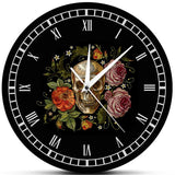 VINTAGE WALL CLOCK SKULL WITH ROSES