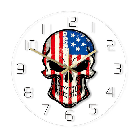 LED WALL CLOCK AMERICAN SKULL