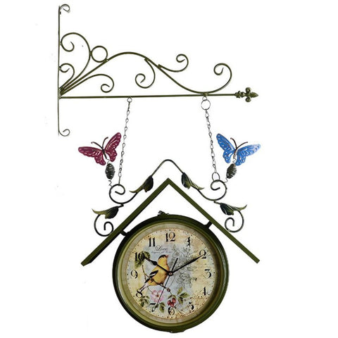 TRAIN STATION CLOCK COLORFUL BUTTERFLIES