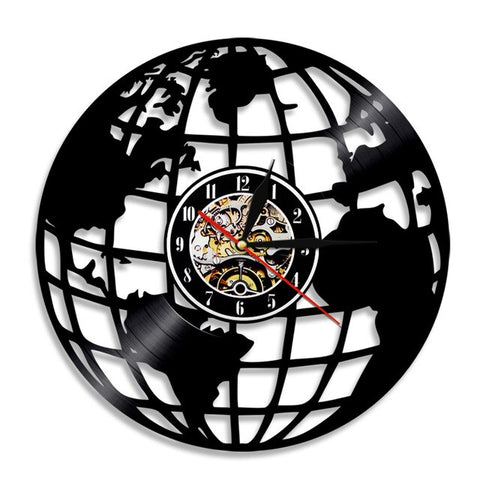 VINYL WALL CLOCK GLOBE MAP