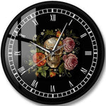 Vintage Wall Clock <br> Skull with Roses