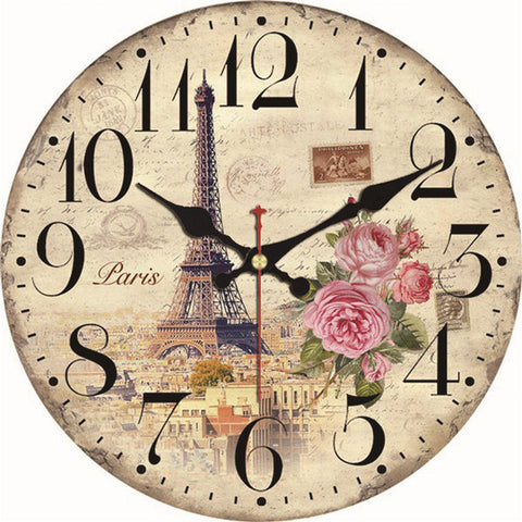 VINTAGE WALL CLOCK EIFFEL TOWER WITH FLOWERS