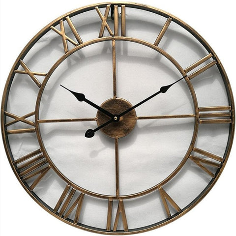 INDUSTRIAL WALL CLOCK RUSTIC GOLD