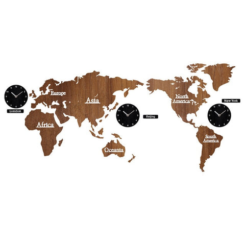 WORLD MAP WALL CLOCK THREE CLOCKS