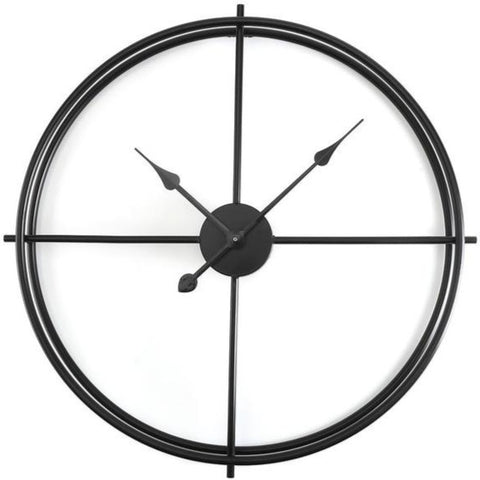 INDUSTRIAL WALL CLOCK MINIMALIST BLACK CIRCLE