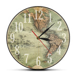 WORLD MAP WALL CLOCK OLD MAP